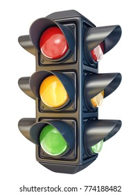 traffic light isolated on a white background. 3d illustration