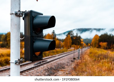 A traffic light at a level crossing with a yellow signal - autumn trees in brightly colored warm colors and gentle fog with a train track leading into the empty in the background - teal and orange