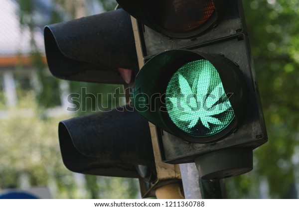 traffic light with Marijuana or cannabis sign