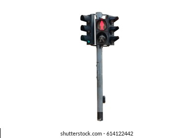 Traffic light of not to cross the street on white background.