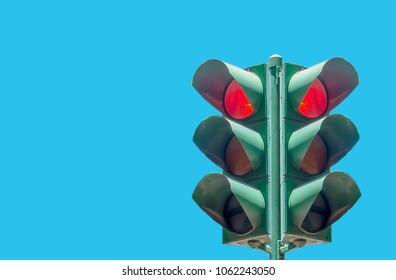 Traffic light on blue background