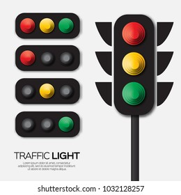 Traffic light. Origami Red, yellow, green lights - Go, wait or slow, stop. Paper cut International Traffic Light's Day. Paper cut style