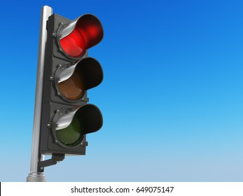 Traffic light with red color on blue sky background. Stop concept. 3d illustration.