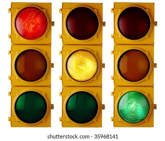 "Traffic light repeated three times, each with a different light ""on"""