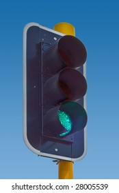 Traffic light showing the green light, clipping path included