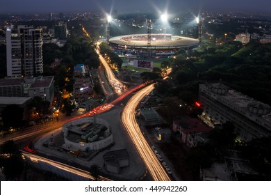 Traffic light trails around Chinnaswamy Stadium, Bangalore