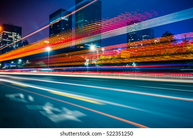Traffic light trails in downtown of Shenzhen,China.