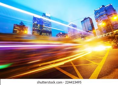 traffic light trails of modern business city