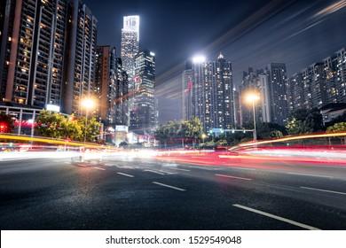 traffic light trails in modern street of guangzhou,china