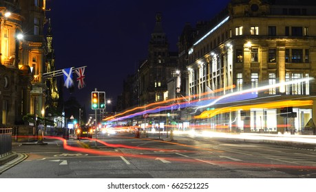Traffic Light Trails on Princes Street - June 2017 - Edinburgh, Scotland