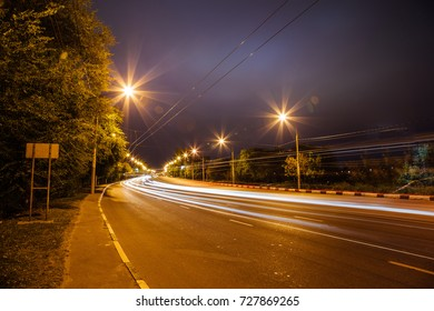 Traffic light trails on the turning road at Voronezh street