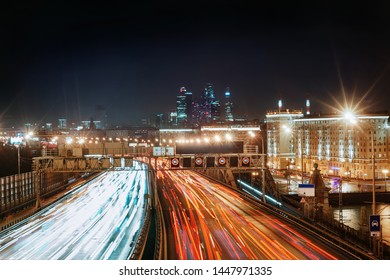 Traffic light trails at Third Ring Road (Moscow), Moscow International Business Center on the background