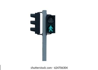 Traffic light of walk to cross the street on white background.