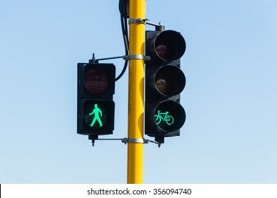Traffic light which is a sign of walking and bicycle