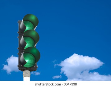 87fe0468ab Traffic lights - all three lights are green in front of blue sky
