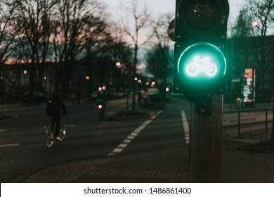 Traffic lights for bicycles at night in Cologne, Germany