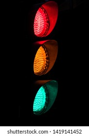 traffic lights with black background