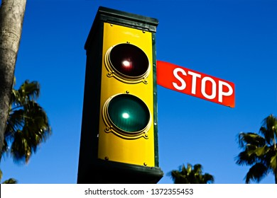 Traffic lights - green and red. Traffic lights with the stop sign.
