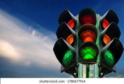 Traffic lights Isolated from the background technology symbol respect traffic regulations