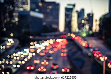 Traffic lights on the street. Blurred bokeh defocused effect