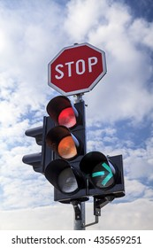Traffic lights with Stop sign