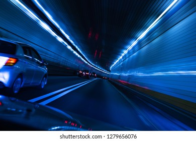 Traffic and low speed shutter at tunnel New york to new jersey, USA