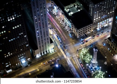 Traffic in Magnificent Mile, Chicago, Illinois at night.