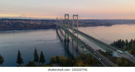 Traffic makes way across the bridge over Puget Sound in Washington State between Tacoma and Gig Harbor