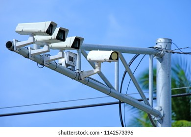 Traffic monitoring security camera CCTV on road