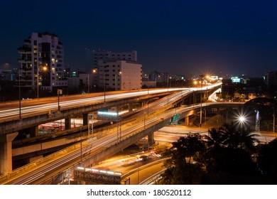 traffic at night in Bangkok city