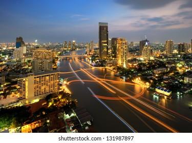 Traffic at night, Bangkok, Thailand