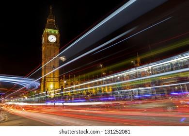 Traffic in night  big ben,London