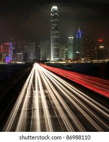 Traffic at night in urban city