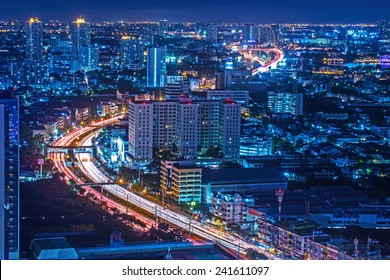 Traffic at night,The top view of Bangkok in Thailand.