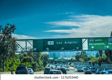 Traffic on 101 Hollywood freeway in Los Angeles. Southern California, USA