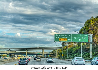 Traffic on 405 freeway in Los Angeles, California