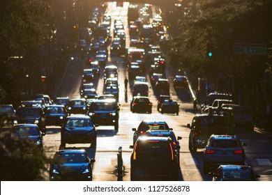 Traffic on 42nd Street through Midtown Manhattan at rush hour in New York City