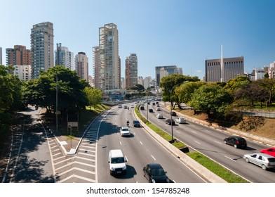 Traffic on Avenida 23 de Maio, Sao Paulo city Brazil