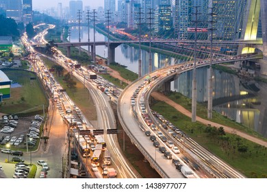 Traffic on Avenue Marginal Pinheiros in Sao Paulo, Brazil