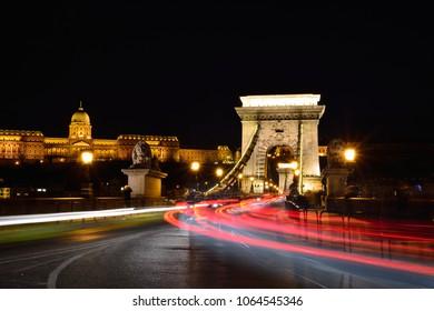 Traffic on SzŽchenyi Chain bridge over Danube river, Budapest city, Hungary.