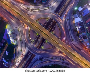 Traffic on a circular road/aerial shot