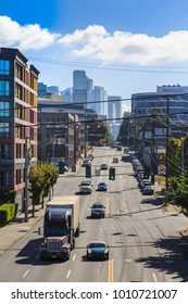 Traffic on Elliott Avenue with Downtown urban offices visible in background, Seattle, Washington, USA North America 20 September 2017