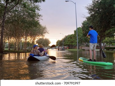 Traffic on flooded roads in Houston
