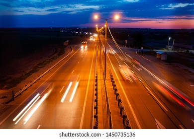 Traffic on freeway at twilight