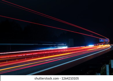 Traffic on a German highway at night