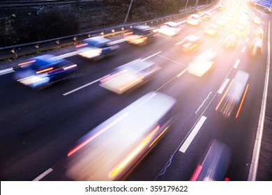 Traffic on highway with light effect