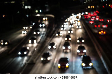 Traffic on a highway, many cars driving
