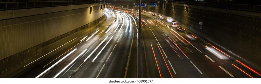 traffic on the night highway