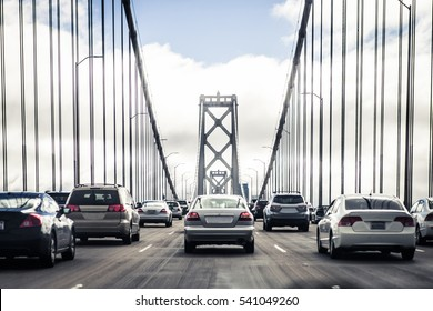 Traffic on the Oakland Bay Bridge in San Francisco, California, USA