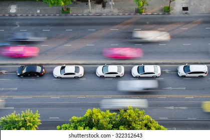the traffic on the road in bangkok